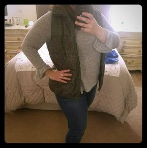 Herringbone Tweed Puffer Vest with Flannel Lining